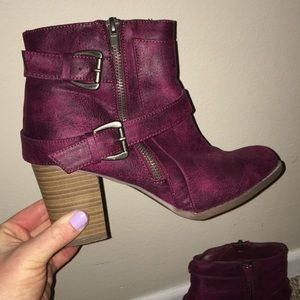 Maroon Booties. JustFab size 8.
